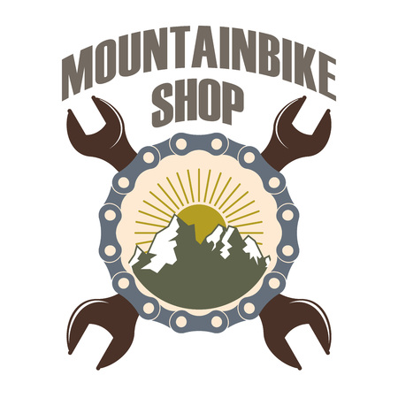 retro vector repair service color logo for mountain bicycles with chain and wrenches Ilustrace