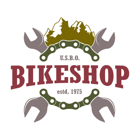 retro vector repair service color logo for mountain bicycles with chain and wrenches Illustration
