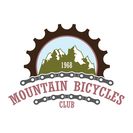 Old style vector logo for bicycle travel company. Extreme mountain biking association label with gearwheel and chains