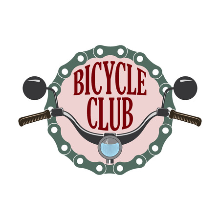 vector vintage label for bike or scooter club, retro style logo for bicycle museum and garage shows