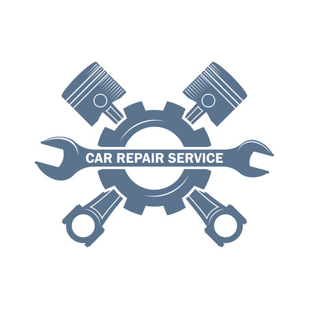 vector monochrome car service logo in retro style with a wrench, pistons and gear; garage car repair service and customizing label, vehicle engine service icon