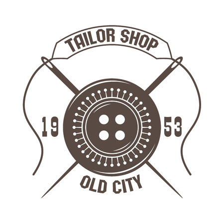 tailor shop logo for custom dressmaking company; retro style badge for handmade sewing