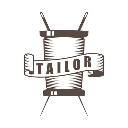 vector monochrome vintage tailor accessories custom tailor shop emblem; sewing company badge Ilustrace