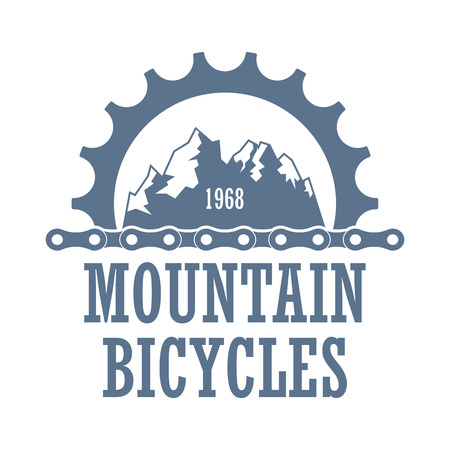 Oldstyle vector for bicycle travel company. Extreme mountain biking association label witt gearwheel and chines