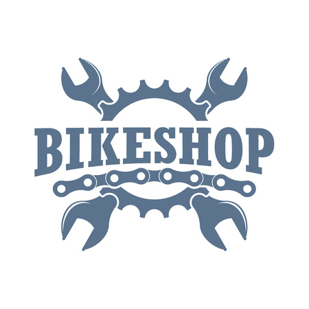 Vector color vintage badge for a bikeshop and store of bikecycling parts and accesories