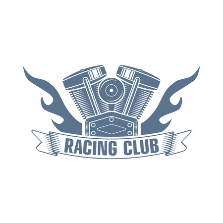 monochrome vector  bikers racing club emblem; motorcycle club kogo with a flame, motor and ribbon; custom motors service icon Ilustrace