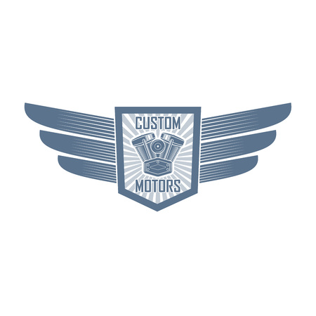 bikers custom parts shop with shield, motorcycle motor and wings; retro style motorcycle club badge;