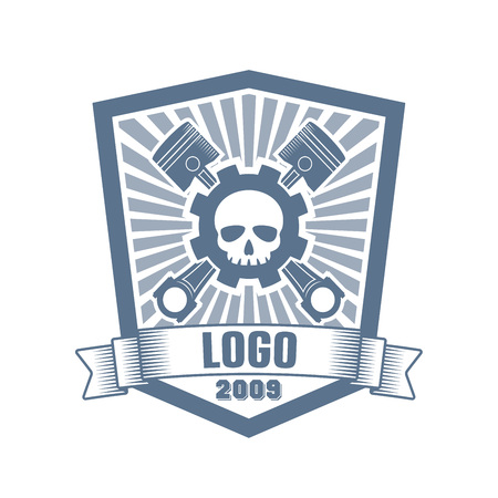 vector logo of car customizing club with a gear, pistons, skull, ribbon and text; bikers club label; tuning motors garage insignia