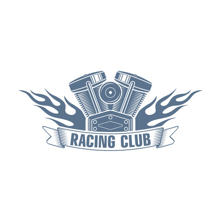 monochrome vector  bikers racing club logo; motorcycle club badge with a flame, motor and ribbon; motorcycle service icon Ilustrace
