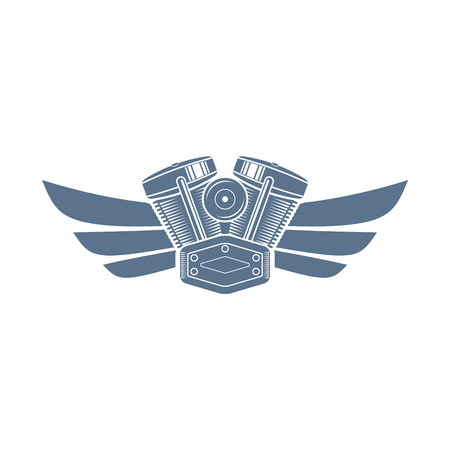 Vector monochrome motorcycle club logo with a motor and wings