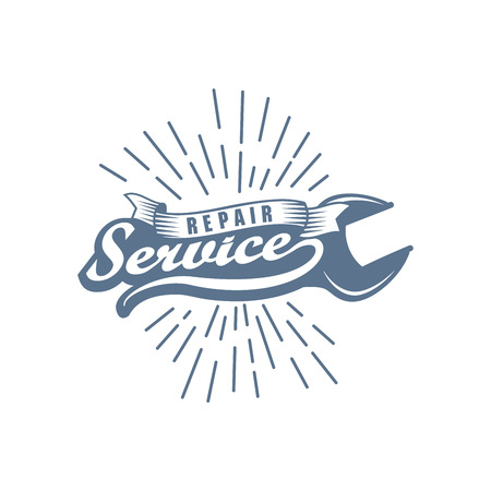 Flat style monochrome logo for a building and vehicle remodel and repair service. Ilustrace