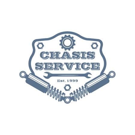vector monochtome vehicle suspension repair service logo in retro style; auto servise emblem; repair company business logo Ilustrace