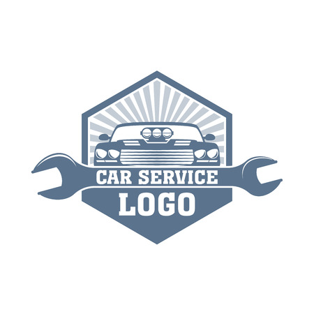 Vector monochrome car service with a wrench and car body