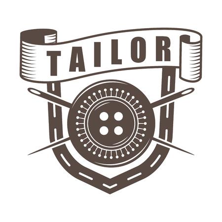 vector monochrome retro style tailor logo; old style custom sewing badge; custom dressmaking company emblem
