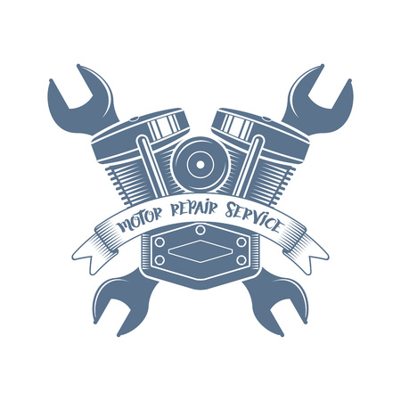 vector motocycle customization motor logo; racer service garage icon in retro style; bikers club symbol Ilustrace