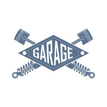 car service vintage monochrome vector logo with car parts Ilustrace