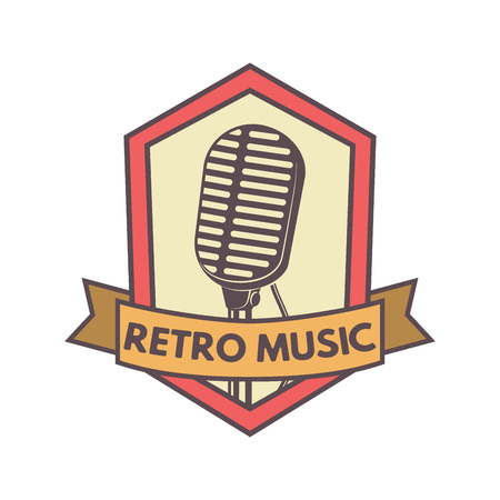 Vintage hipsters vector microphone emblem for radio station, music company, podcast show, voice recording company, private reporter or music band Ilustrace