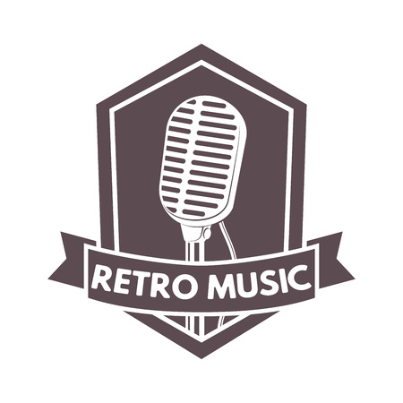 Vintage hipsters vector microphone emblem for radio station