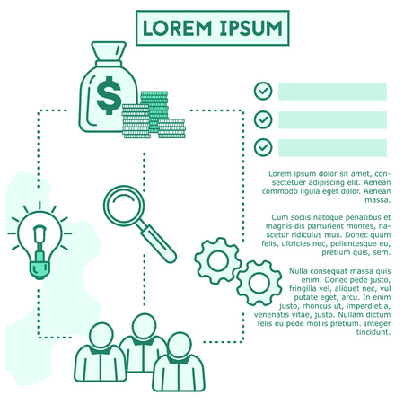 Business idea and process vector banner template in a lineart style