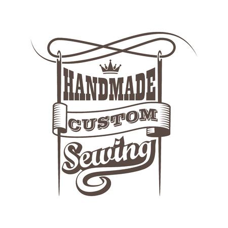Vintage custom retrostyle handmade sewing workshop banner. Dressmaking business logo.