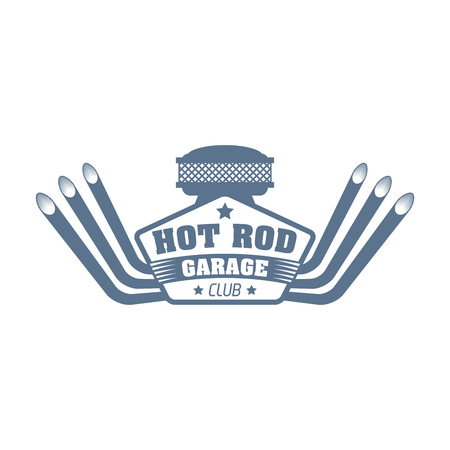 vector logo for a sport club of hot rods, car customizing garage label, auto engine tuning service sticker Illustration
