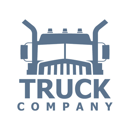 Monochrome truck vector logo for delivery company