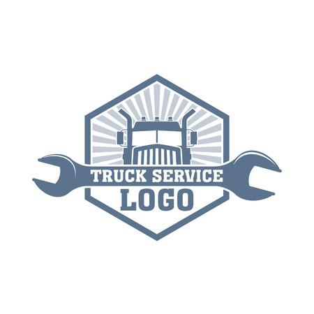 monochrome truck service vector , repair trucks garage emblem, car parts shop badge Ilustrace