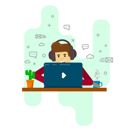 modern user in social networks, freelancer, programmer, designer, office worker in modern flat style Ilustrace