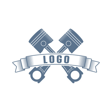 Simple monochrome vector logo with a pistons, ribbon and text Ilustrace