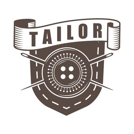 Vector monochrome retro style tailor logoem Ilustrace