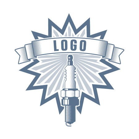 car and motorcycle repair service garage logo; vehicle service company badge Ilustrace