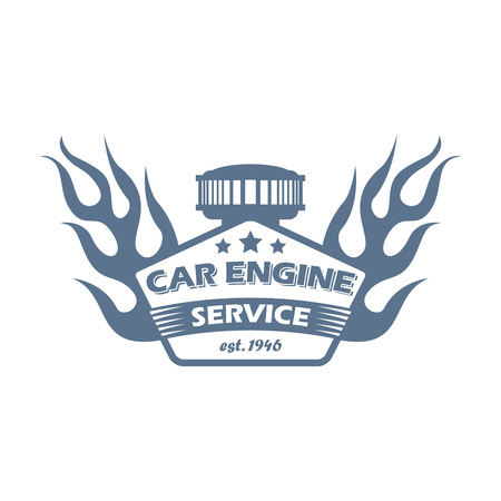vector custom cars engine service  with a carburetor, flame and ribbon; garage hot rods repair and customizing label, car motor customizing and repair service icon