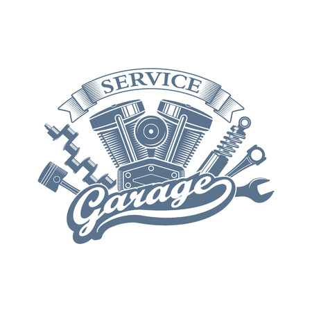 monochrome vector garage service  in a retro style; vintage car repair service emblem with a wrench, motorcycle engine, piston and crankshaft