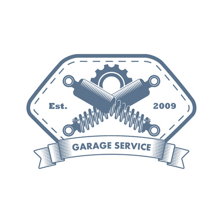 Vector  monochrome car and motorcycle repair service logo