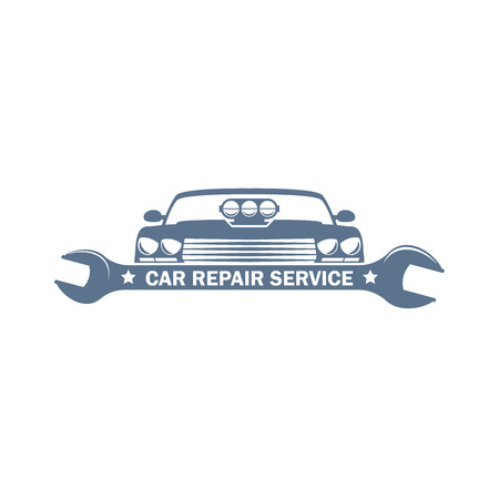 vector monochrome car service in retro style with a wrench and car body; garage sport cars repair and customizing label, transport customizing and repair service icon