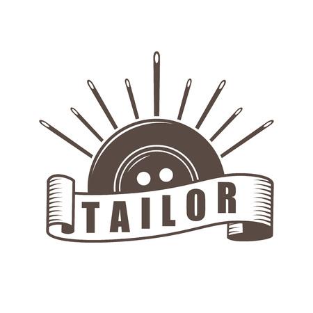 Retro style dress repair company logo. Tailor equipment shop icon. Vector illustration.