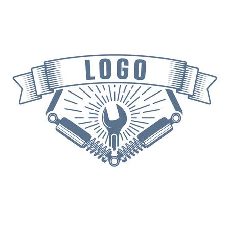 vector monochtome vehicle suspension repair service logo in retro style; auto service emblem; repair company business logo Ilustrace