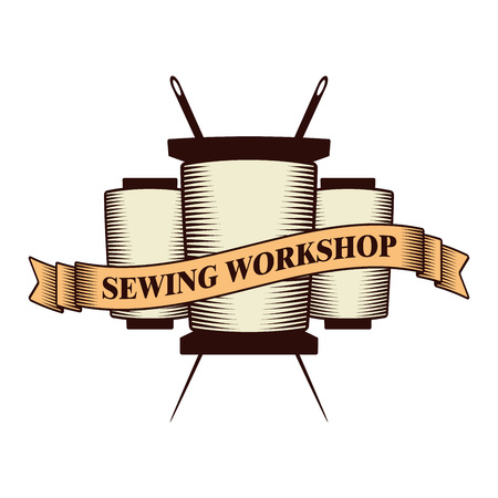 vintage vector sewing logo; retro style monochrome taylor store logotype with ribbon, text, thread and needle rolls