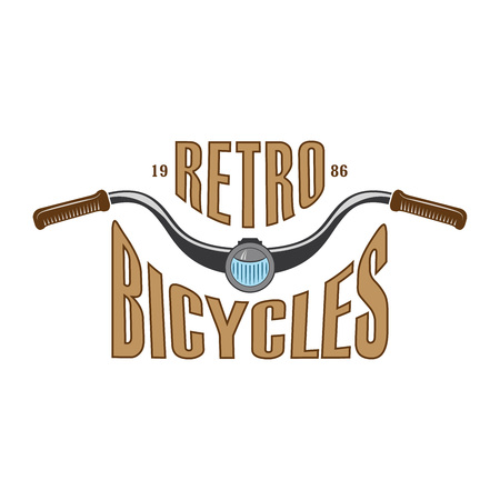 vector vintage label for bike or scooter club, retro style  for bicycle museum and garage shows