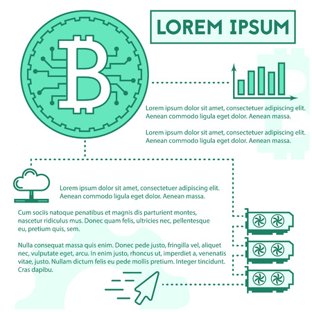 simple outline cryptocurrency trading infographic concept Reklamní fotografie