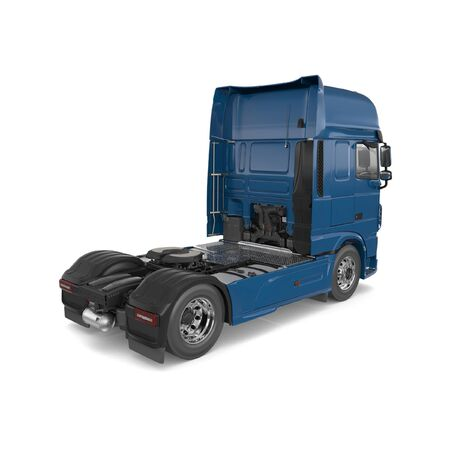 Generic semi truck isolated photorealistic 3D Illustration - back view.