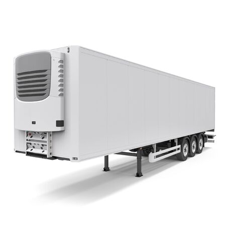 Refrigerated semi trailer Isolated model - back doors closed - front side view