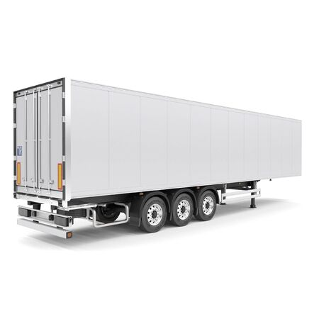 Refrigerated semi trailer Isolated model - back doors closed - back side view