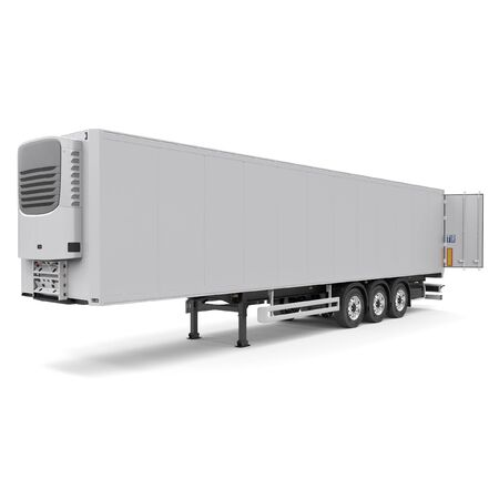 Refrigerated semi trailer Isolated model - back doors opened - front side view Stock Photo