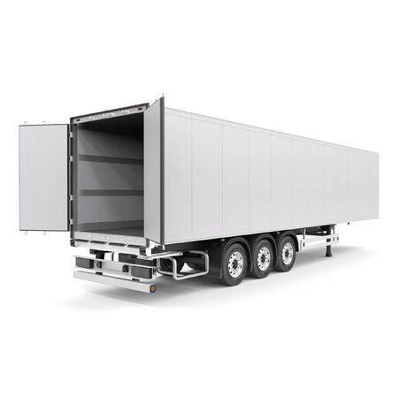 Refrigerated semi trailer Isolated model - back doors opened - back side view