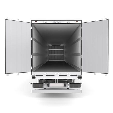 Refrigerated semi trailer Isolated model - back doors opened Foto de archivo