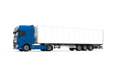 Generic blue truck with semi trailer photo realistic isolated 3D Illustration - front left view.