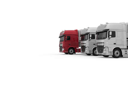 Generic red semi truck with semi trailer moves forward among monochrome grey models photo realistic isolated 3D Illustration. Foto de archivo