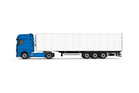 Generic truck with semi trailer photo realistic isolated 3D Illustration - left side.