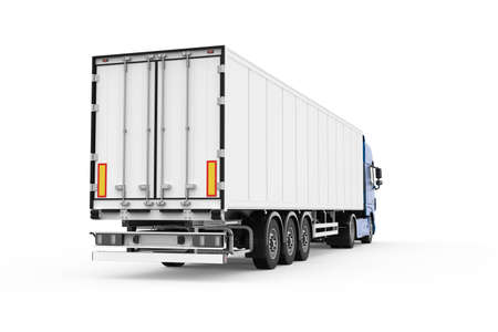 Generic truck with white semi trailer photo realistic isolated 3D Illustration - back right low angle view.